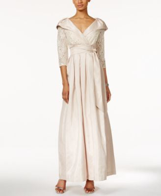 Jessica Howard Portrait-Collar Lace and Satin Gown