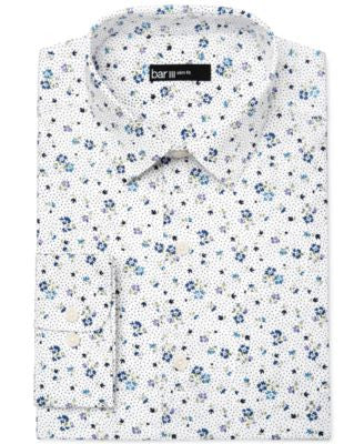 Bar III Men's Slim-Fit White Ground Floral Print Dress Shirt, Only at Vogily