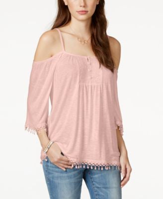 American Rag Crochet-Trim Cold-Shoulder Top, Only at Vogily