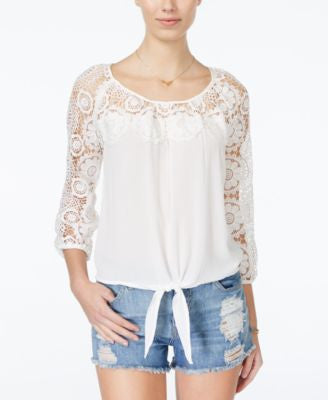 American Rag Crochet-Panel Top, Only at Vogily
