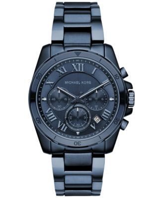 Michael Kors Women's Chronograph Brecken Blue Ion-Plated Stainless Steel Bracelet Watch 40mm MK6361