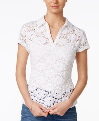 Maison Jules Illusion Lace Polo Top, Only at Vogily