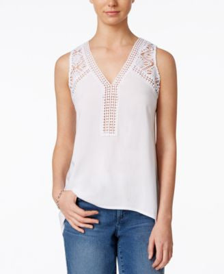 Maison Jules Sleeveless Lace-Trim Top, Only at Vogily