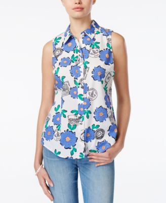 Maison Jules Sleeveless Floral-Print Shirt, Only at Vogily