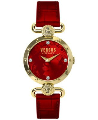 Versus by Versace Women's Sunny Ridge Red Leather Strap Watch 34mm SOL03 0015