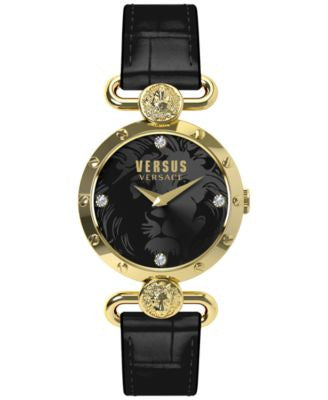 Versus by Versace Women's Sunny Ridge Black Leather Strap Watch 34mm SOL04 0015