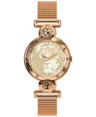Versus by Versace Women's Sunny Ridge Rose Gold-Tone Ion-Plated Stainless Steel Mesh Bracelet Watch