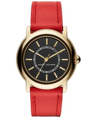 Marc Jacobs Women's Courtney Red Leather Strap Watch 34mm MJ1452