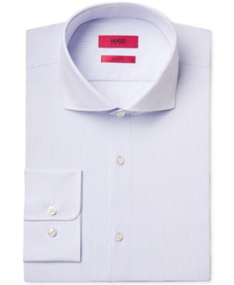 HUGO Men's Slim-Fit Light Blue Stripe Dress Shirt