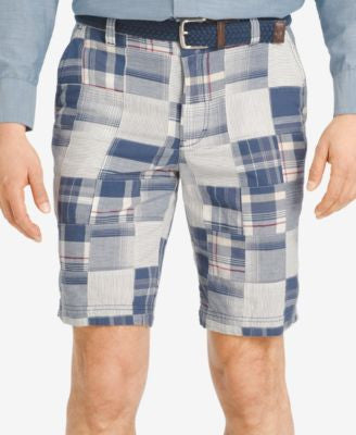 IZOD Men's Madras Patchwork Flat-Front Shorts