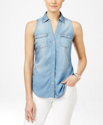 INC International Concepts Denim Sleeveless Shirt, Only at Vogily