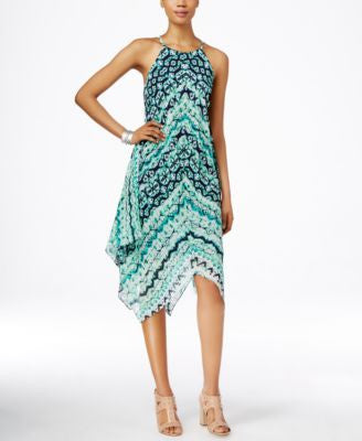 INC International Concepts Petite Printed Halter Dress, Only at Vogily