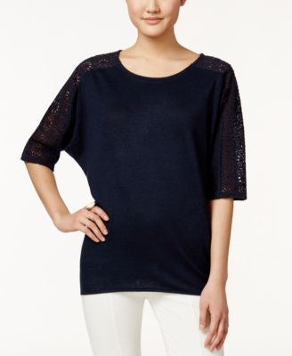 Alfani Petite Crochet-Trim High-Low Top, Only at Vogily