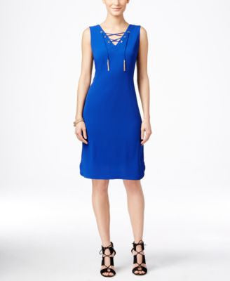 INC International Concepts Petite Lace-Up Sheath Dress, Only at Vogily