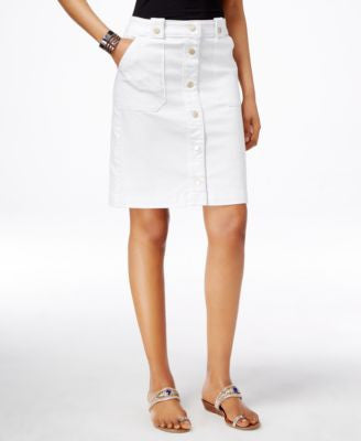 INC International Concepts Button-Down Denim A-Line Skirt, Only at Vogily