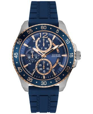 GUESS Men's Blue Silicone Strap Watch 46mm U0798G2