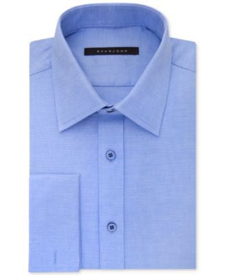 Sean John Textured Clearwater Blue Solid French Cuff Dress Shirt