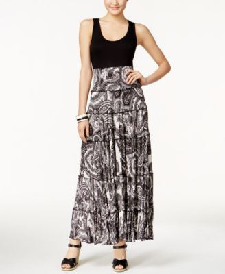 Karen Kane Ruffle-Tiered Printed Maxi Dress