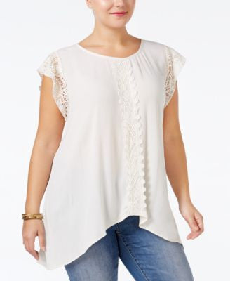 Eyeshadow Plus Size Lace-Trim Crepe Top
