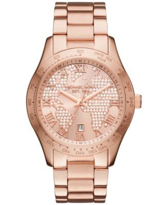 Michael Kors Women's Layton Rose Gold-Tone Stainless Steel Bracelet Watch 44mm MK6376, First at Vogi