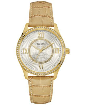 GUESS Women's Tan Leather Strap Watch 39mm U0768L2