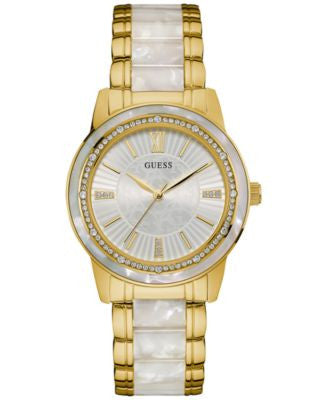 GUESS Women's Two-Tone Stainless Steel and Resin Bracelet Watch 37mm U0706L3