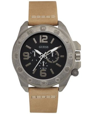 GUESS Men's Tan Leather Strap Watch 46mm U0659G4