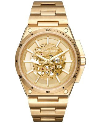 Michael Kors Men's Automatic Wilder Gold-Tone Stainless Steel Bracelet Watch 48mm MK9027