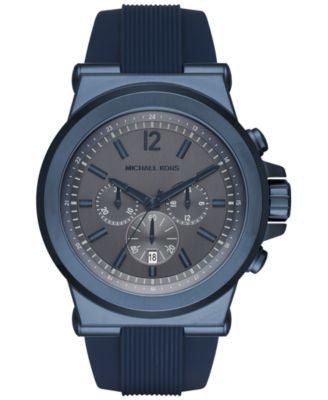 Michael Kors Men's Chronograph Dylan Blue Silicone Strap Watch 48mm MK8493