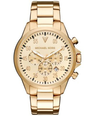 Michael Kors Men's Chronograph Gage Gold-Tone Stainless Steel Bracelet Watch 45mm MK8491