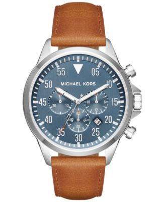 Michael Kors Men's Chronograph Gage Luggage Leather Strap Watch 45mm MK8490