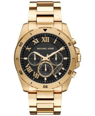 Michael Kors Men's Chronograph Brecken Gold-Tone Stainless Steel Bracelet Watch 44mm MK8481