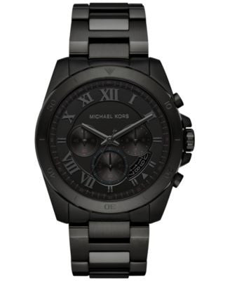 Michael Kors Men's Chronograph Brecken Black Ion-Plated Stainless Steel Bracelet Watch 44mm MK8482