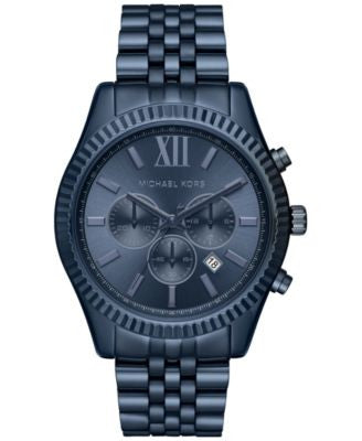 Michael Kors Men's Chronograph Lexington Blue Ion-Plated Stainless Steel Bracelet Watch 44mm MK8480