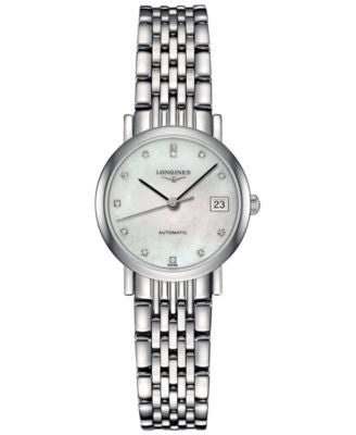 Longines Women's Swiss Automatic The Longines Elegant Collection Diamond Accent Stainless Steel Brac