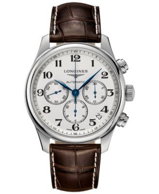 Longines Men's Swiss Automatic Chronograph The Longines Master Collection Dark Brown Leather Strap W