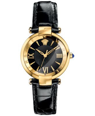 Versace Women's Swiss Reve Black Leather Strap Watch 35mm VAI020016