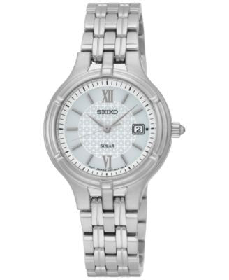 Seiko Women's Solar Dress Stainless Steel Bracelet Watch 28mm SUT217