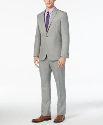 Kenneth Cole Reaction Men's Slim-Fit Light Grey Suit with Finished Pant Hem