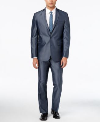 Kenneth Cole Reaction Men's Slim-Fit Blue and Gray Textured Suit with Finished Pant Hem
