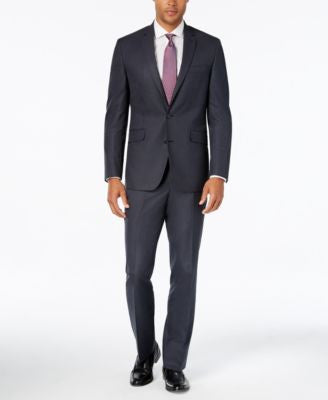 Kenneth Cole Reaction Men's Slim-Fit New Blue Pindot Suit with Finished Pant Hem
