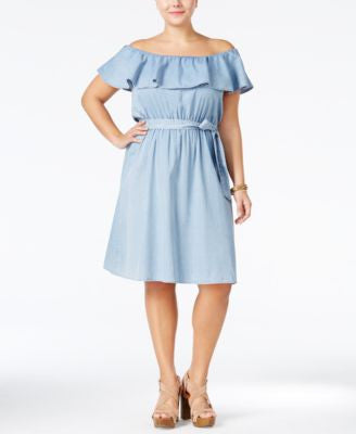 American Rag Trendy Plus Size Off-The-Shoulder Chambray Dress, Only at Vogily