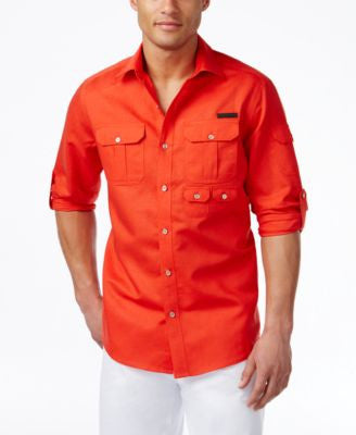 Sean John Men's Linen Flight Shirt