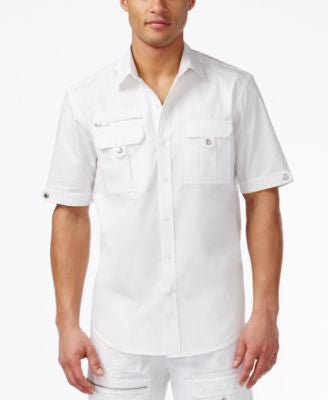 Sean John Men's Textured Block Flight Shirt