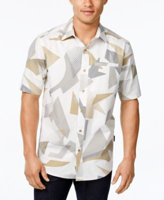Sean John Men's White Washer Abstract-Print Short-Sleeve Shirt