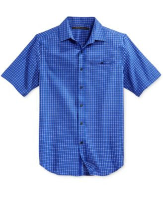 Sean Jean Men's Checked Short-Sleeve Shirt