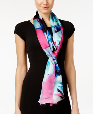 Vince Camuto Orchid Explosion Silk Oblong Scarf