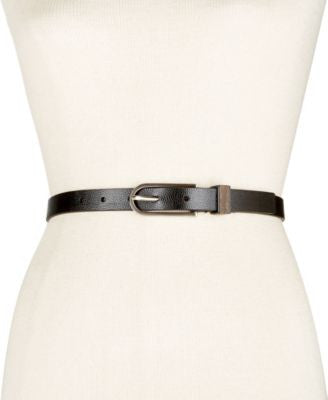 Calvin Klein Flat Strap Wood Inlay Skinny Belt