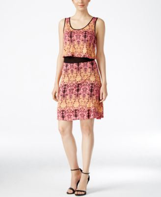kensie Printed Layered Dress