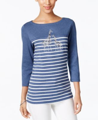 Karen Scott Striped Giraffe-Print Top, Only at Vogily